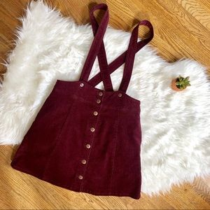 Burgundy high-waisted overall skirt